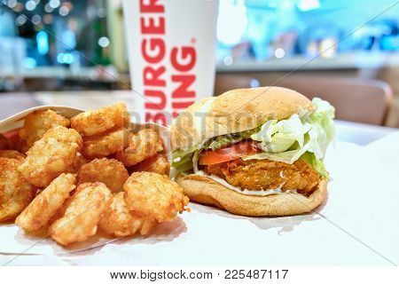 Bangkok, Thailand - February 06, 2018 : Typical Sloppy Meal Set In A Burger King Fast Food Restauran