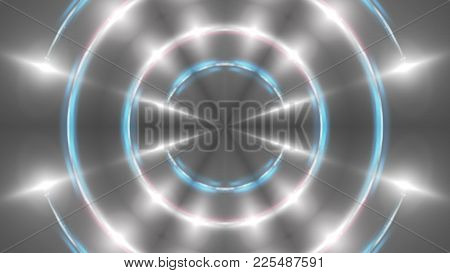 Abstract Background With Vj Fractal Silver Kaleidoscopic. 3d Rendering Digital Backdrop.