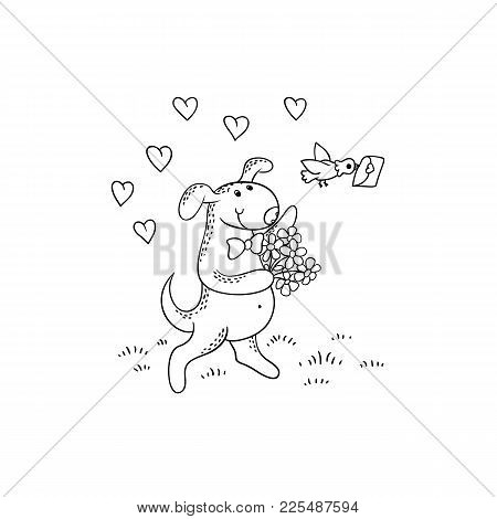 Vector Black-white Sketch Funny Cartoon Puppy.the Dog Character Goes On A Date With A Bouquet Of Flo