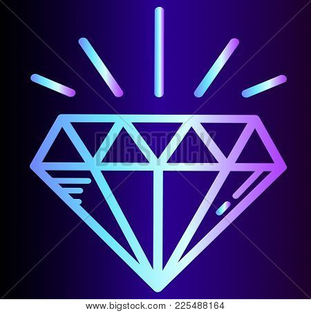 Neon Icon Diamond - Gem, Shine Brilliance. Wealth And Glamor