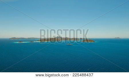 Aerial View: Lagoon With Blue, Azure Water In The Middle Of Small Islands And Rocks, Palawan. Beach,