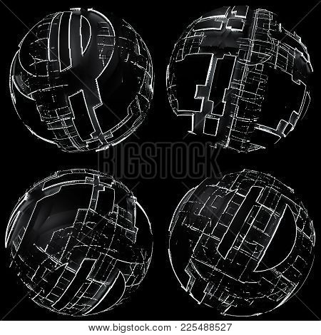 Abstract Spheres Of Glowing Circles And Lines. Science And Technology Concept. Futuristic Spheres. 3
