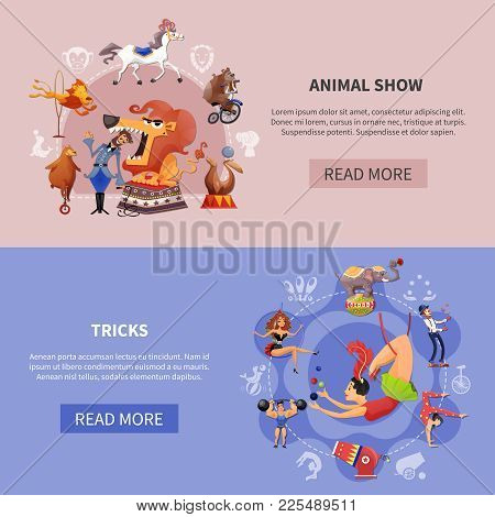Two Horizontal Circus Cartoon Colored Banner Set With Animal Show And Tricks Descriptions Vector Ill