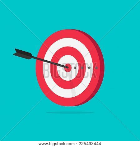 Target Vector Icon Illustration, Flat Cartoon Target With Arrow In Center Of Aim, Idea Of Success Go