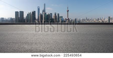 Empty Road Surface Floor With City Landmark Buildings Of Panorama