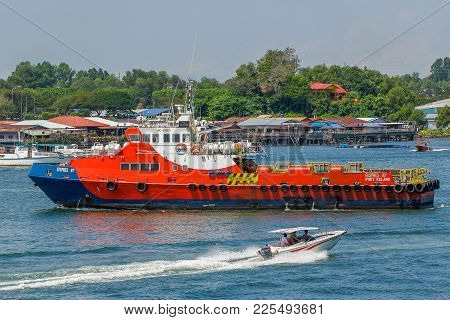 Labuan,malaysia-feb 2,2018:offshore Oil & Gas Sea Support Vessel With Workers At Port Of Labuan,mala