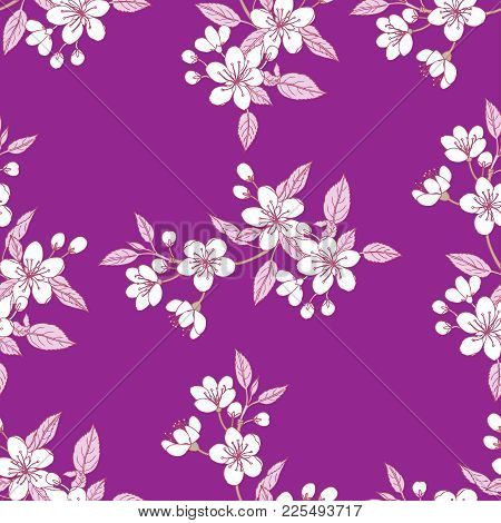 Seamless Pattern  With Sakura. Hand Drawn Spring Blossom Trees. Vector Illustration With Cherry Blos