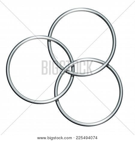 Three Linking Metal Rings For Showing Magic Trick. Equipment Performance Circus Show. Vector Illustr