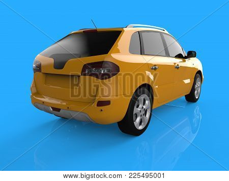 Compact City Crossover Yellow Color On A Blue Background. Right Rear View. 3d Rendering