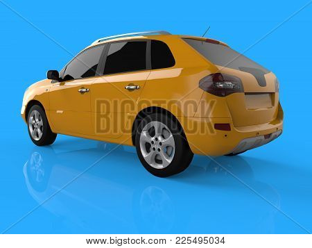 Compact City Crossover Yellow Color On A Blue Background. Left Rear View. 3d Rendering