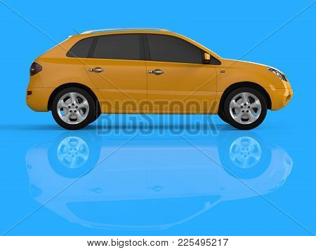 Compact City Crossover Yellow Color On A Blue Background. Right View. 3d Rendering
