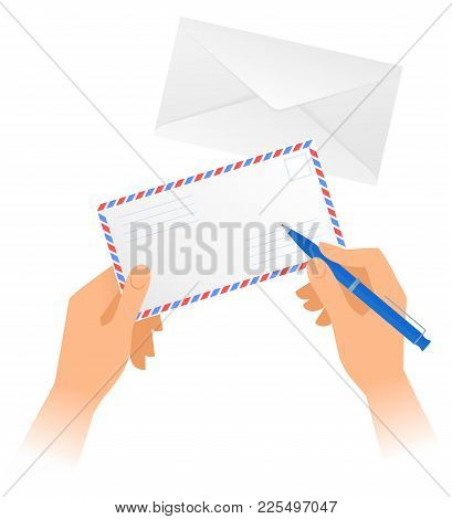Human Hands Hold Paper Envelope And Write Address With Pen. Vector Illustration Of Hands Holding Off