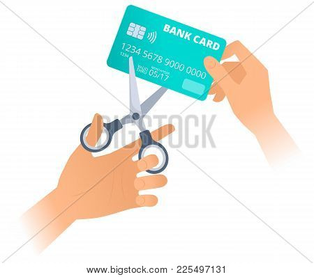 Human Hand Is Using Scissors To Cut Up An Old Plastic Credit Card. Flat Illustration Of Steel Office