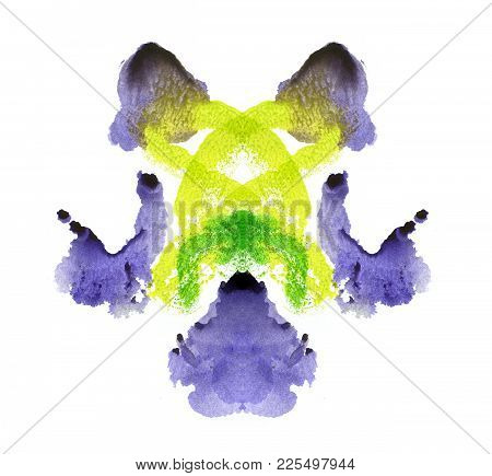 Abstract Watercolor Paint Mark. Violet And Green Color. Different Associations