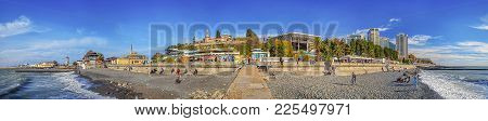 Sochi, Russia - November 21, 2015: Panoramic View Of The City From The Breakwater