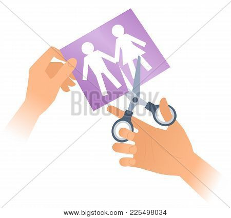 Hand Is Using A Pair Of Scissors To Cut And To Separate Paper Men And Women. Flat Illustration Of Sh