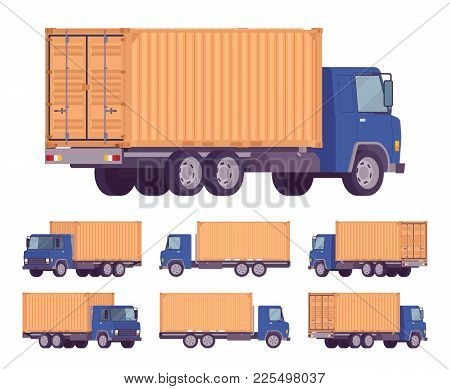Euro Truck, Metal Container. Large Lorry, Heavy Road Vehicle For Carrying Goods. Delivery, Logistics