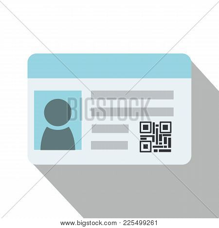 Flat Identification Card And Qr Code With Isolated White Background Vector.