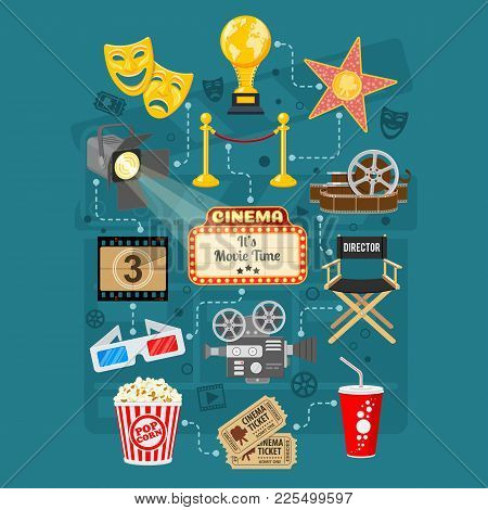 Cinema And Movie Infographics With Flat Icons Set Popcorn, Award, 3d Glasses, Tickets. Isolated Vect