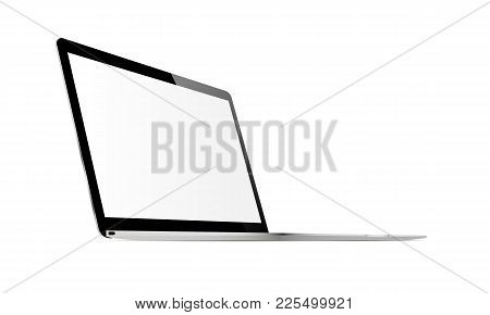 Laptop Screen Mockup With Perspective View To Showcase Website Design Project In Modern Style. Monit