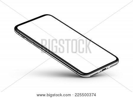 iPhone X style perspective smartphone mockup on white background. Perspective view smartphone mockup with blank screen rests on one corner with shadow. Use it for mobile game or application UI presentation. 3D illustration.