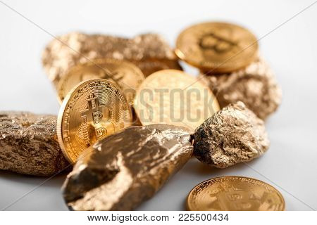 Encrypted Golden Bitcoin Together With Gold Lumps Representing Most Important Finance Trends Worldwi
