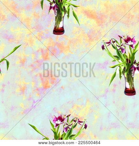 Seamless Pattern With Spring Bouquets Of Tulips Flowers.