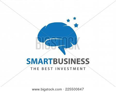 Blue Smart Star Brain Vector Logo Design