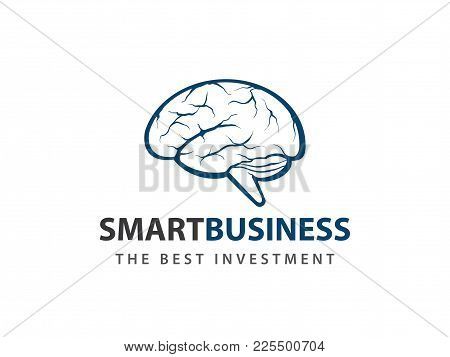 Human Brain Detailed Smart Blue Green Vector Logo Design