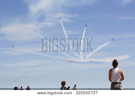 Swansea, Uk: July 07, 2017: An Aerobatic Display Team Perform For The Delighted Crowds On Swansea Be