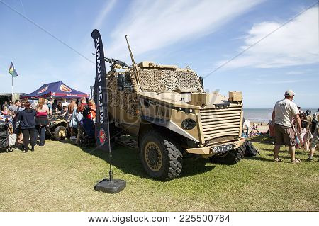 Swansea, Uk: July 07, 2017: An Army Vehicle Used In Desert Storm At Swansea Air Show. Spectators Wan