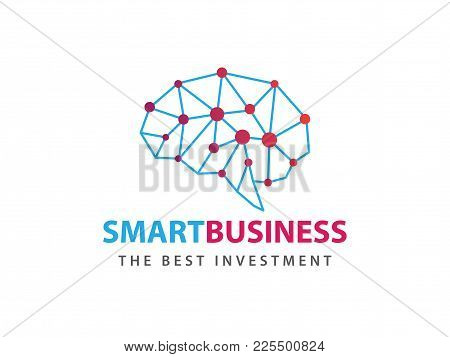 Awesome Line Matrix Smart Blue With Dot Red Vector Logo Design