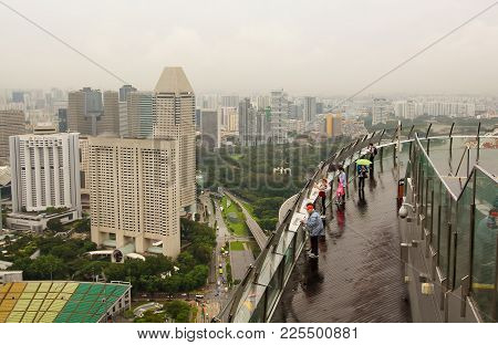 Singapore, Singapore - January 14, 2018: Sands Skypark Observation Deck At Marina Bay Sands Hotel Wi