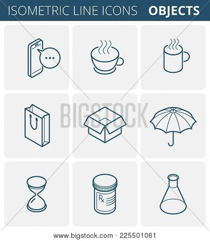 Isometric Outline Icon Set. Vector Linear Symbols Collection. Flat Line Icons Of Objects: Mobile Pho