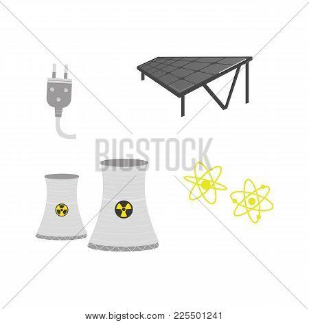 Vector Flat Cartoon Solar Panels Battery, Sun Power Cells Plant, Nuclear Reactor, Power Plug, Atoms