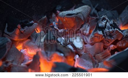 Burning Charcoal.hot Coals In The Fire.fire Woods And Hot Coal In A Grill.the Brazier Of Hot Coals.b