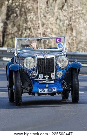 Adelaide, Australia - September 25, 2016: Vintage 1934 Mg Nd Roadster Driving On Country Roads Near