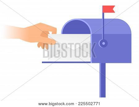 Human Hand Is Taking Out An Envelope From A Postbox. Flat Vector Illustration Of Mailbox And A Hand