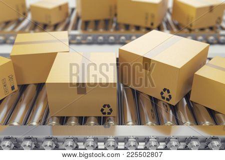 3d Illustration Packages Delivery, Packaging Service And Parcels Transportation System Concept, Card