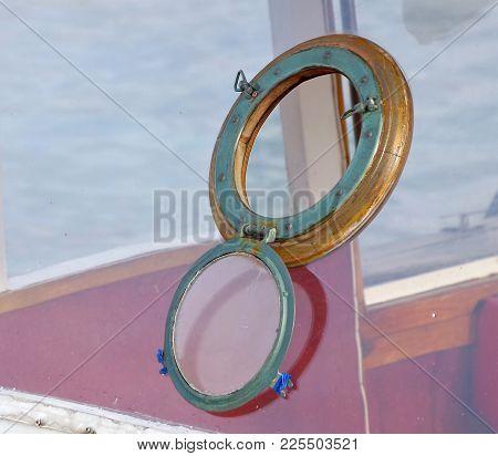 The Opened Old Vintage Brass Circle Porthole