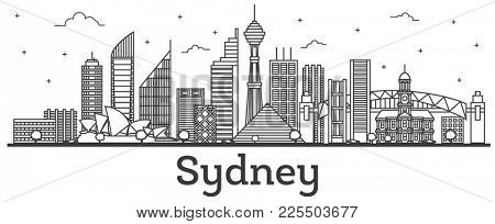 Outline Sydney Australia City Skyline with Modern Buildings Isolated on White. Sydney Cityscape with Landmarks.