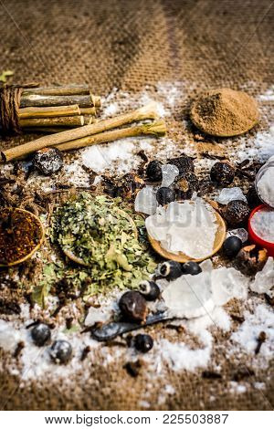 Close Up Of Mixture Of Ayurvedic Herbs For The Treatment Of Tooth Problems I.e Alum Powder,potassium