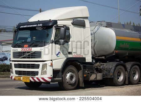 Chiang Mai, Thailand -january 9 2018: Volvo Trailer  Truck With Oil Tank Of Hod Agricultural Coopera