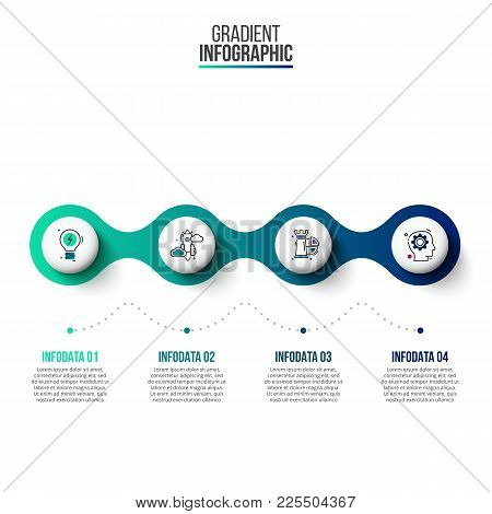 Business Data Visualization. Abstract Gradient Elements Of Graph, Diagram With 4 Steps, Options, Par