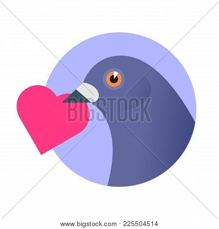 A Post Pigeon With An Red Heart In The Beak. Flat Vector Illustration Of A Homing-pigeon Carring Hea