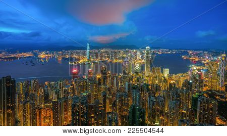 Hong Kong Skyline From View Point Of Victoria Peak. The Cityscape And Harbor From Top Of The Peak, H