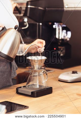 Hand Drip Coffee, Barista Pouring Water On Coffee Ground With Filter. Barista, Cafe, Making Coffee,