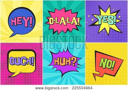 Bright Colorful Contrast Retro Comic Speech Bubbles Set With Yes, No, Ouch, Huh, Hey On Striped Back