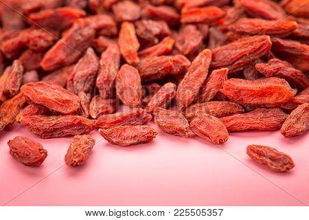background of dried red Tibetan goji berries (wolfberry) - superfruit