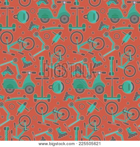 Terracotta Seamless Pattern With Contrast Aquamarine Teenager Bikes And Scooters On Red Background.